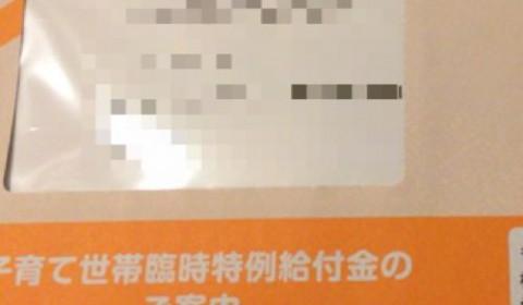 子育て世帯臨時特例給付金の案内が届きました。
