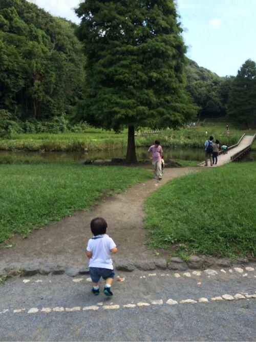 池に向かう息子
