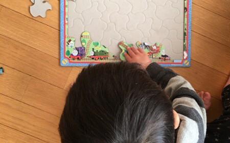 2歳でパズルに夢中に。集中力を鍛えるいい遊び。